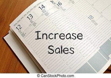 vendite, scrivere, quaderno, aumento