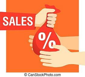 vendite, segno, borsa, percento, mani, presa a terra