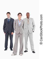 vendite, standing, insieme, squadra