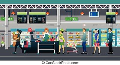 vendite, supermercato, merce