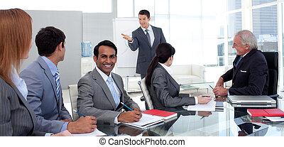 vendite uniscono, suo, figure, uomo affari, segnalazione