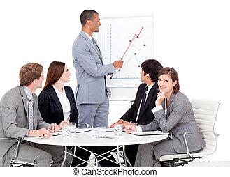 vendite uniscono, suo, figure, uomo affari, segnalazione, malinconico