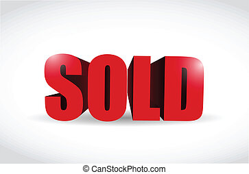venduto, illustrazione, segno, disegno, rosso, 3d