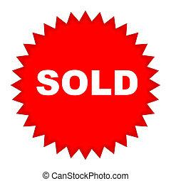 venduto, prezzo, rosso, etichetta