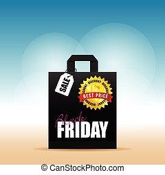 venerdì, esso, illustrazione, borsa, carta, nero