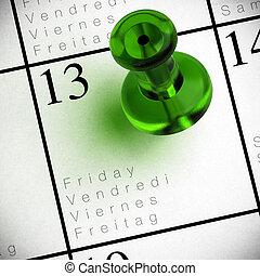 venerdì, multilingue, 13, scritto, rosso, trasparenza, calendario, su di, thumbtack