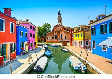 venezia, burano, italia, canale, colorito, isola, case, punto di riferimento, chiesa, barche