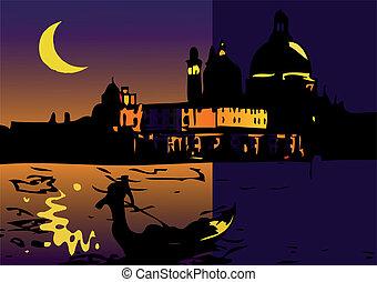 venezia, notte, luna