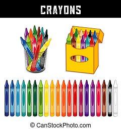 venti, pastelli, collezione, colori, arcobaleno