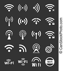 venti, wifi, set, icone