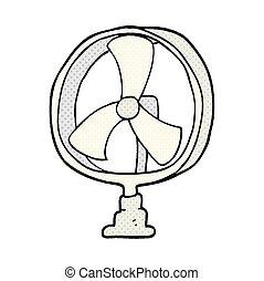 ventilatore, cartone animato, scrivania