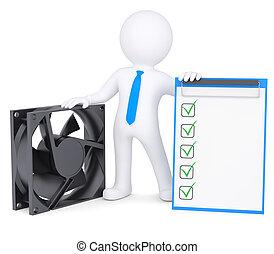 ventilatore computer, 3d, uomo, prossimo