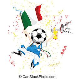 ventilatore, testa, palla, italia, calcio
