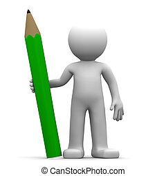 verde, 3d, carattere, matita
