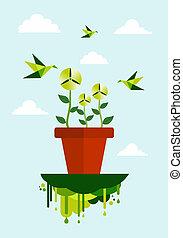 verde, ambiente, pulito, concetto, energia