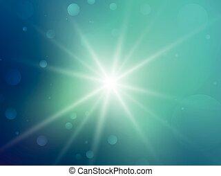 verde, bokeh, raggi, stella, fondo