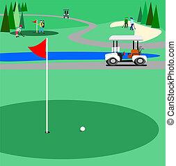 verde, campo golf