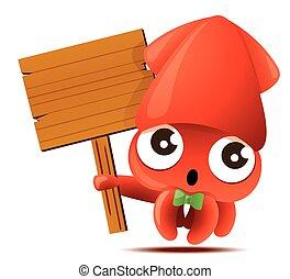 verde, carattere, carino, calamaro, mascotte, presa a terra, grande, cartone animato, cartello, bowtie, -, legno, vettore