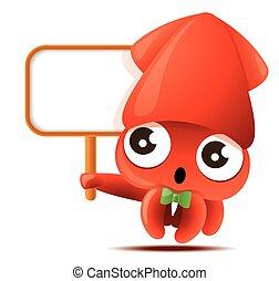 verde, carattere, carino, calamaro, mascotte, presa a terra, grande, menu, cartone animato, cartello, bowtie, -, vuoto, vettore