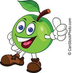 verde, carattere, mela, cartone animato