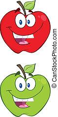 verde, carattere, mela, rosso