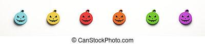 verde, colori, viola, rosso giallo, fondo., bianco, 3d, isolato, faccia, luce, render, set, zucche, pauroso, blu, cinque, halloween, illustration.