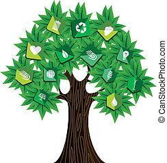 verde, concetto, albero, risorse