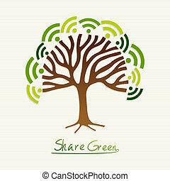 verde, concetto, albero