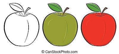 verde, delineato, mela, rosso
