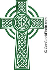 verde, dettagli, croce celtica