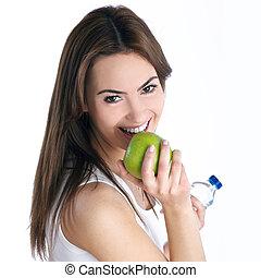 verde, donna, brunetta, mela, giovane