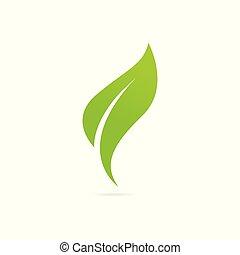 verde, eco, icona, leaf.
