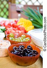 verde, estate, ogive, appetizers., verdura, fuoco poco profondo, affettato, profondità, nero, campo, fresco, tavola.