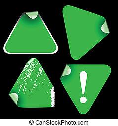 verde, etichette, triangolo