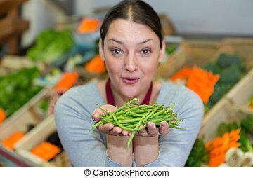 verde, femmina, positivo, fagioli, vendita