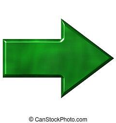 verde, freccia, 3d