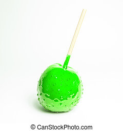 verde, (isolated), mela, toffee