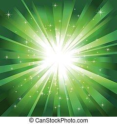 verde leggero, stelle, sfavillante, scoppio