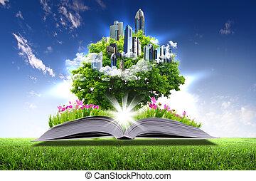 verde, libro, aperto, mondo, natura
