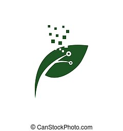 verde, logotipo, progetta, tecnologia