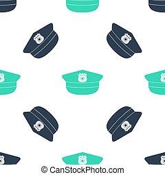 verde, modello, icona, bianco, segno., seamless, polizia, vettore, coccarda, berretto, cappello, fondo., isolato