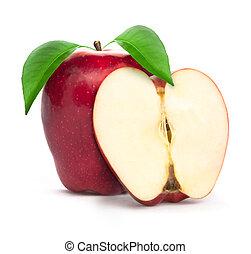 verde, pezzo, foglia, mela, rosso