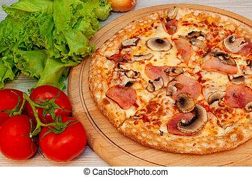 verde, pomodori, asse, funghi, insalata, pizza formaggio, prosciutto