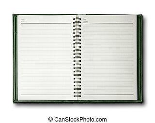 verde, quaderno, coperchio