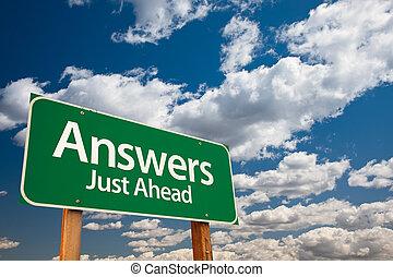 verde, risposte, segno strada