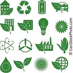 verde, set, ecologia, icone