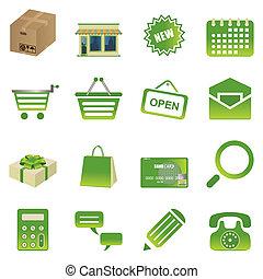 verde, set, shopping, icone