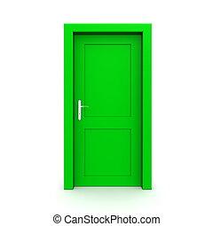 verde, singolo, porta, chiuso