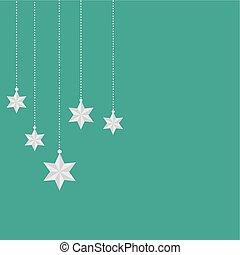 verde, stelle, fondo, appendere