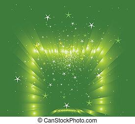 verde, stelle, fondo